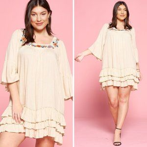 Ruffle Sleeve Floral Embroidered Neck Mini Dress